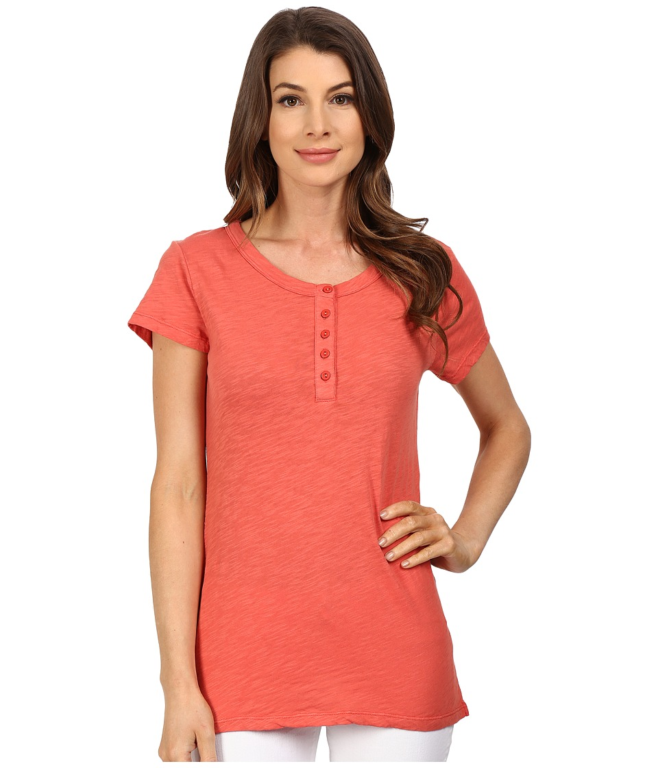 Dylan by True Grit - Soft Slub Short Sleeve Button Henley Tee (Washed Red) Women's T Shirt