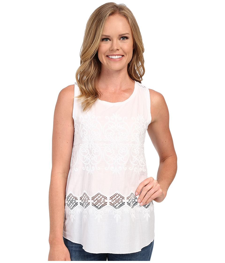 Dylan by True Grit - Embroidered Hi-Lo Sleeveless Tank Top w/ Knit Back (White) Women's Sleeveless