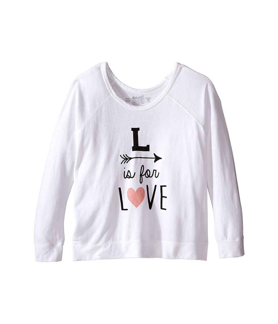 The Original Retro Brand Kids - L Is For Love Quad Sweatshirt Pullover (Little Kids/Big Kids) (Quad White) Girl's Sweatshirt