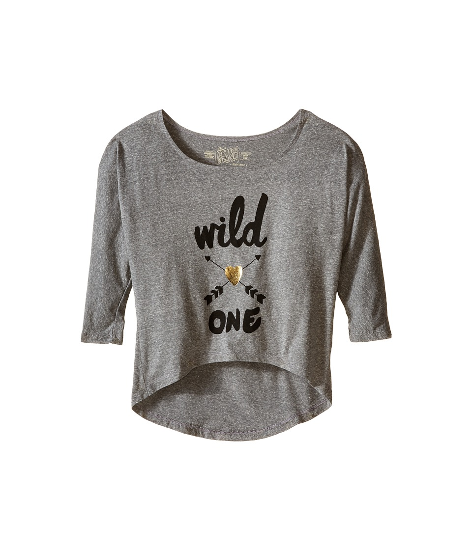 The Original Retro Brand Kids - Dolman Tri-Blend Wild One Tee (Little Kids/Big Kids) (Streaky Grey) Girl