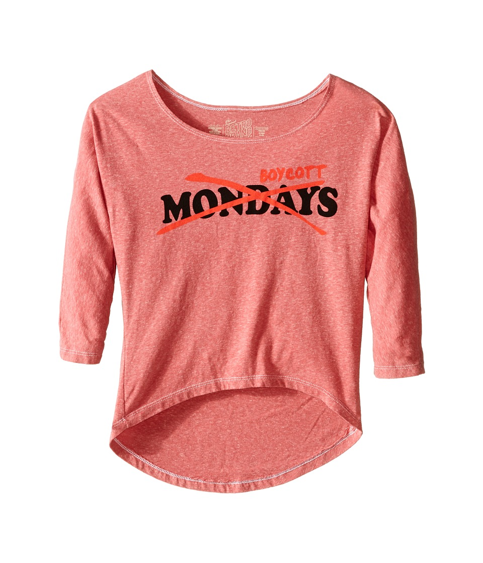 The Original Retro Brand Kids - Tri-Blend Dolman Boycott Mondays Top (Little Kids/Big Kids) (Streaky Red) Girl