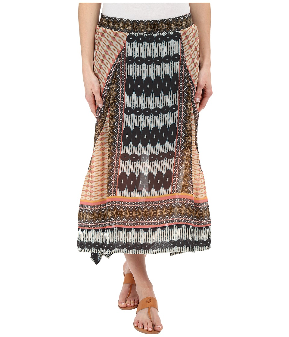Dylan by True Grit - Malta Boho Skirt (Multi Orange/Indigo) Women's Skirt