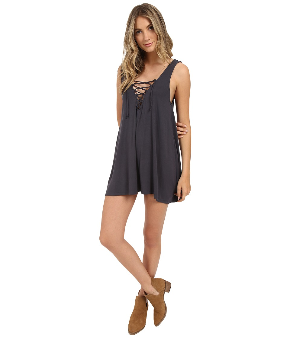 Lucy Love - Lace Me Up Shift (Faded Black) Women's Dress
