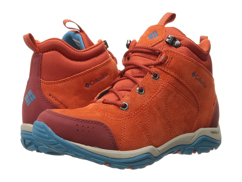 Columbia - Fire Venture Mid Waterproof (Bonfire/Oxide Blue) Women's Waterproof Boots