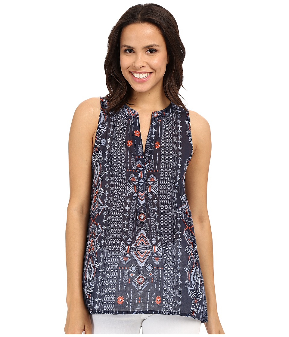 Dylan by True Grit - True Tribal Sleeveless Banded Collar Tunic Blouse (Indigo) Women's Blouse