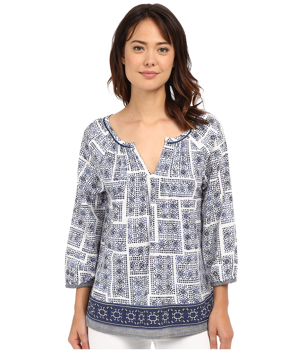 Dylan by True Grit - Mosaic Blouse with Embroidery Border (Indigo) Women's Blouse