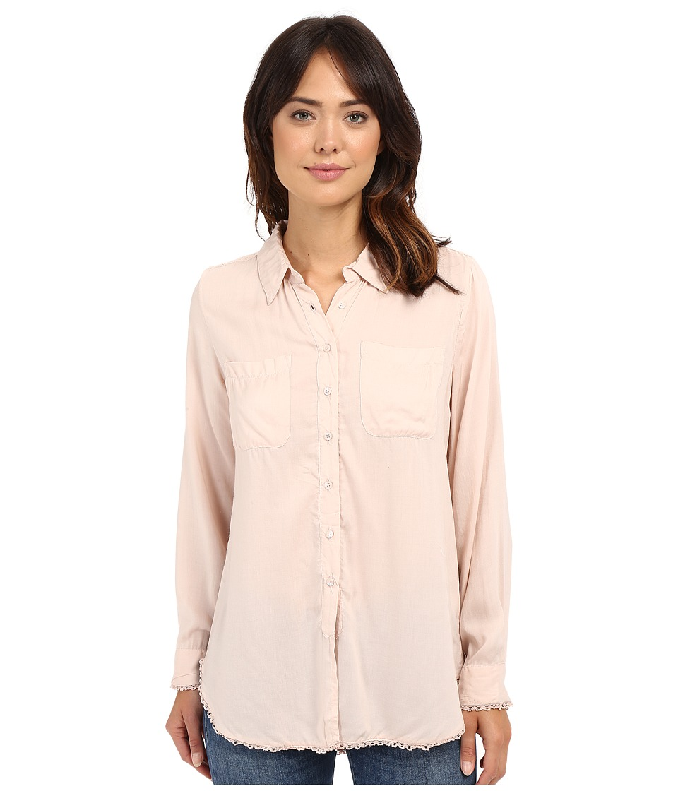 Dylan by True Grit - Dream Cotton Long Sleeve Two-Pocket Shirt with Crochet (First Blush) Women's Clothing