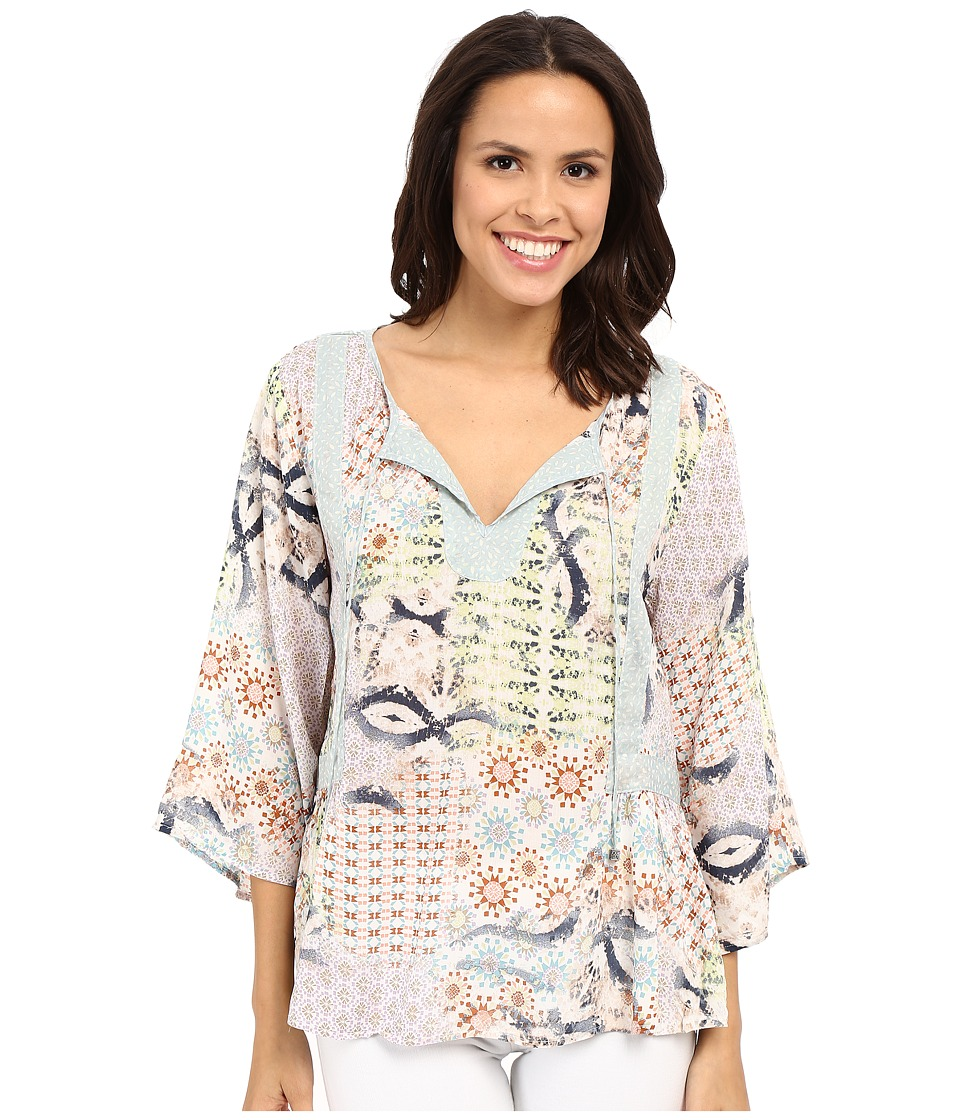 Dylan by True Grit - Sun Kissed Floral Billowy Peasant Blouse (Multi) Women's Blouse