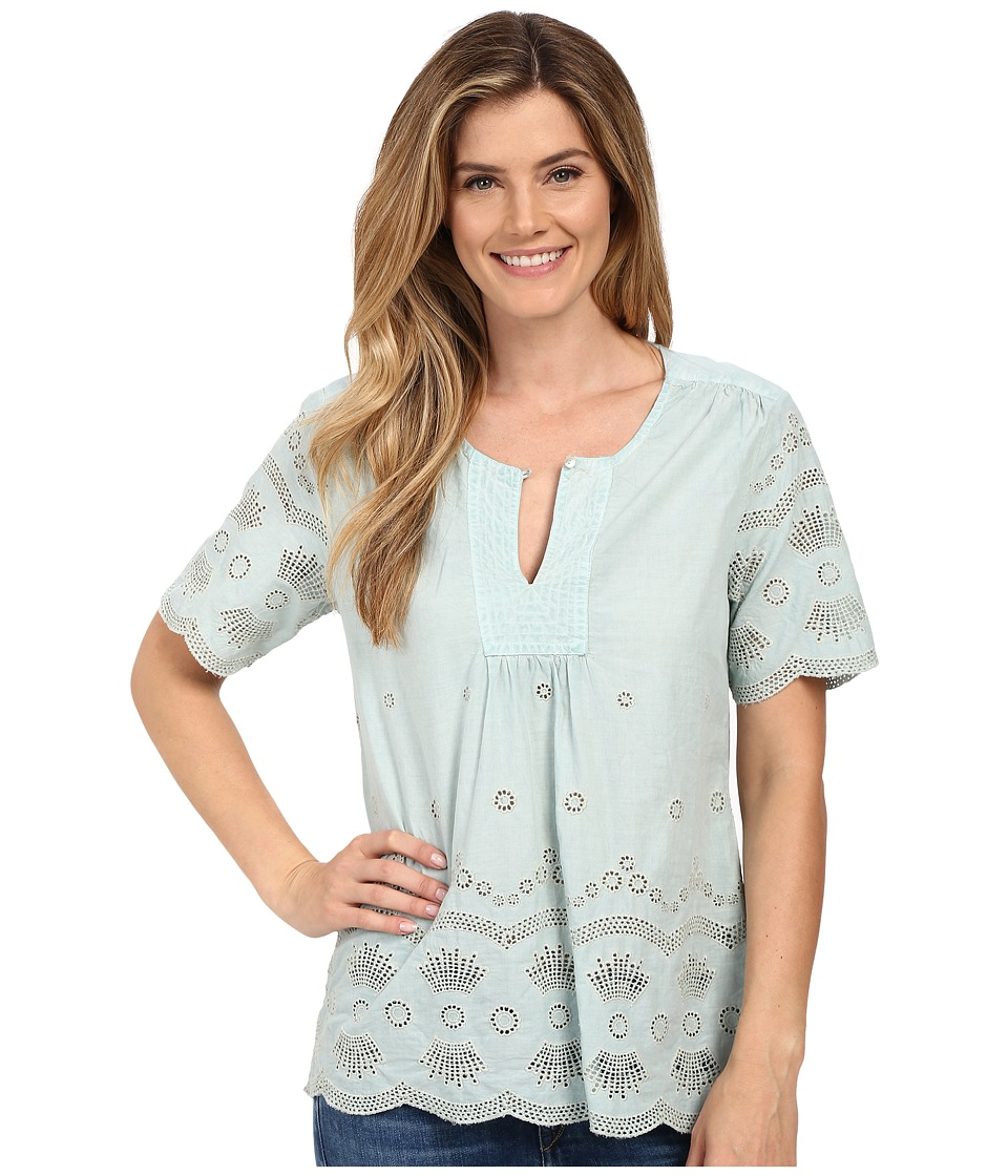 Dylan by True Grit - Mineral Washed Embroidery Short Sleeve Border Blouse (Pool) Women's Blouse