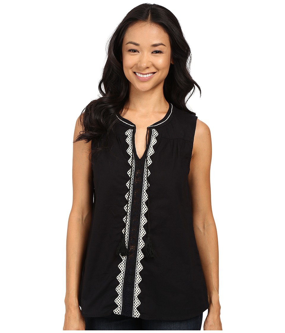 Dylan by True Grit - Folklore Tunic w/ Natural Jute Embroidery (Vintage Black) Women's Clothing