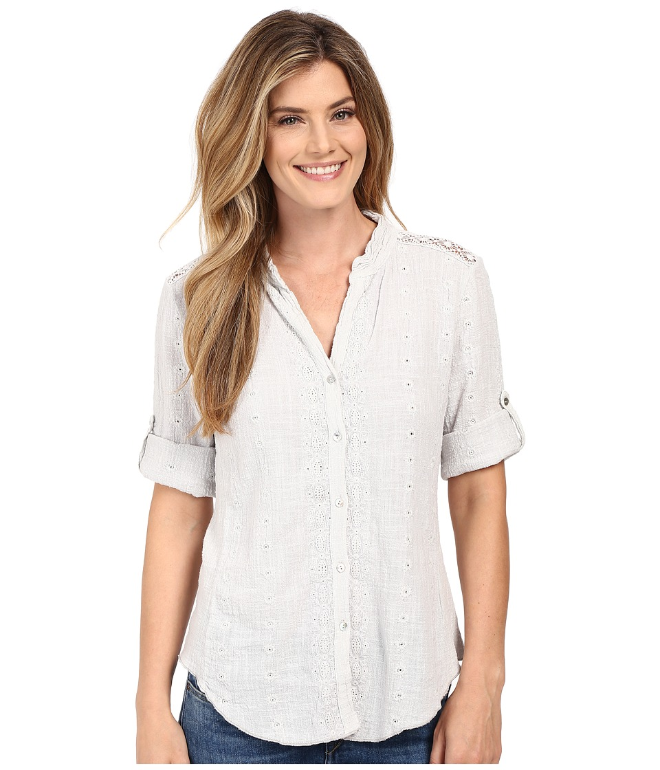 Dylan by True Grit - Cross Hatch Cotton Embroidered 3/4 Roll Sleeve Shirt (Pale Sky) Women's Blouse