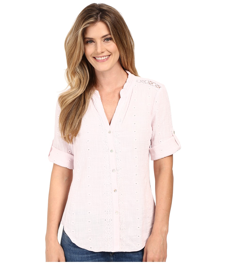 Dylan by True Grit - Cross Hatch Cotton Embroidered 3/4 Roll Sleeve Shirt (Pretty Pink) Women's Blouse