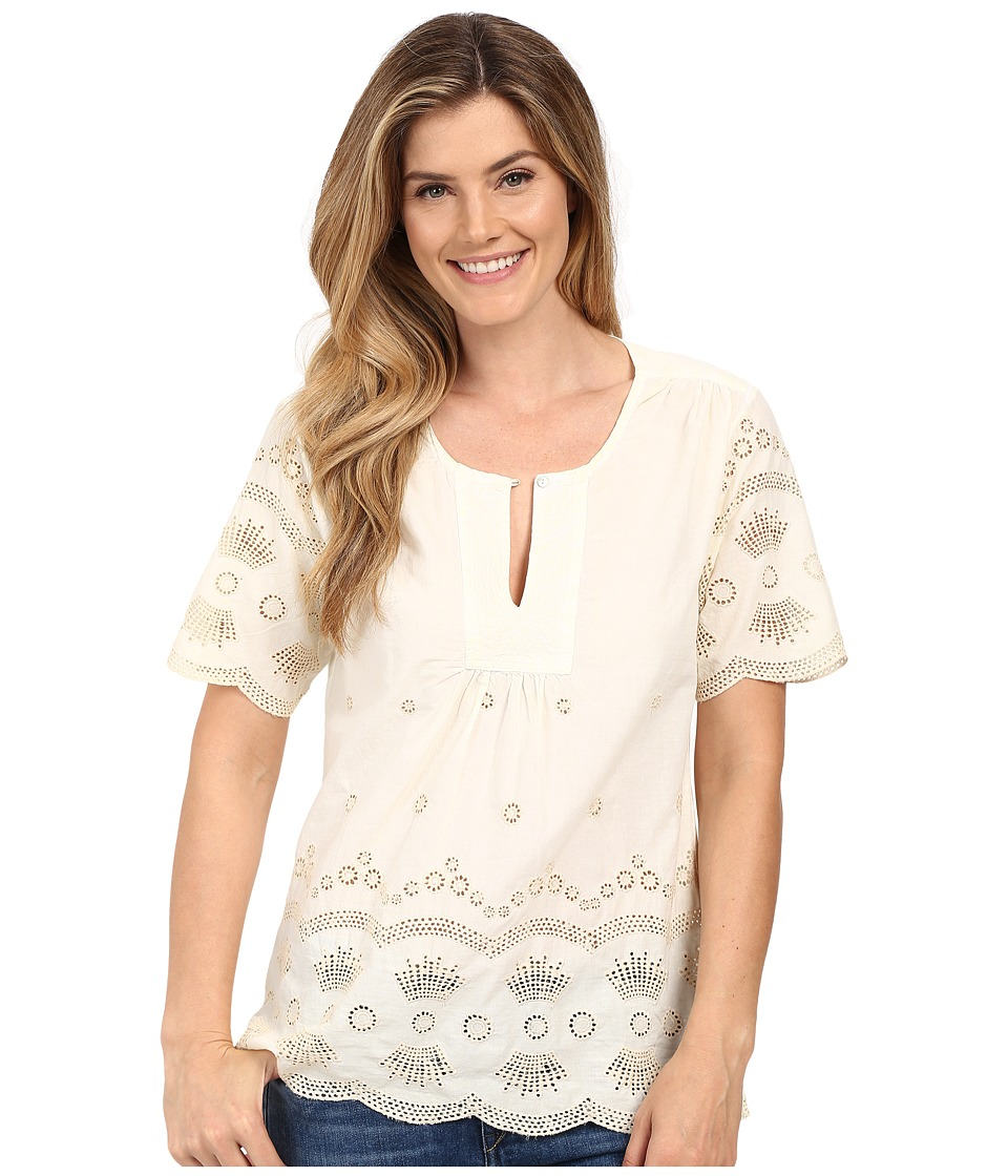 Dylan by True Grit - Mineral Washed Embroidery Short Sleeve Border Blouse (Vintage White) Women's Blouse plus size,  plus size fashion plus size appare