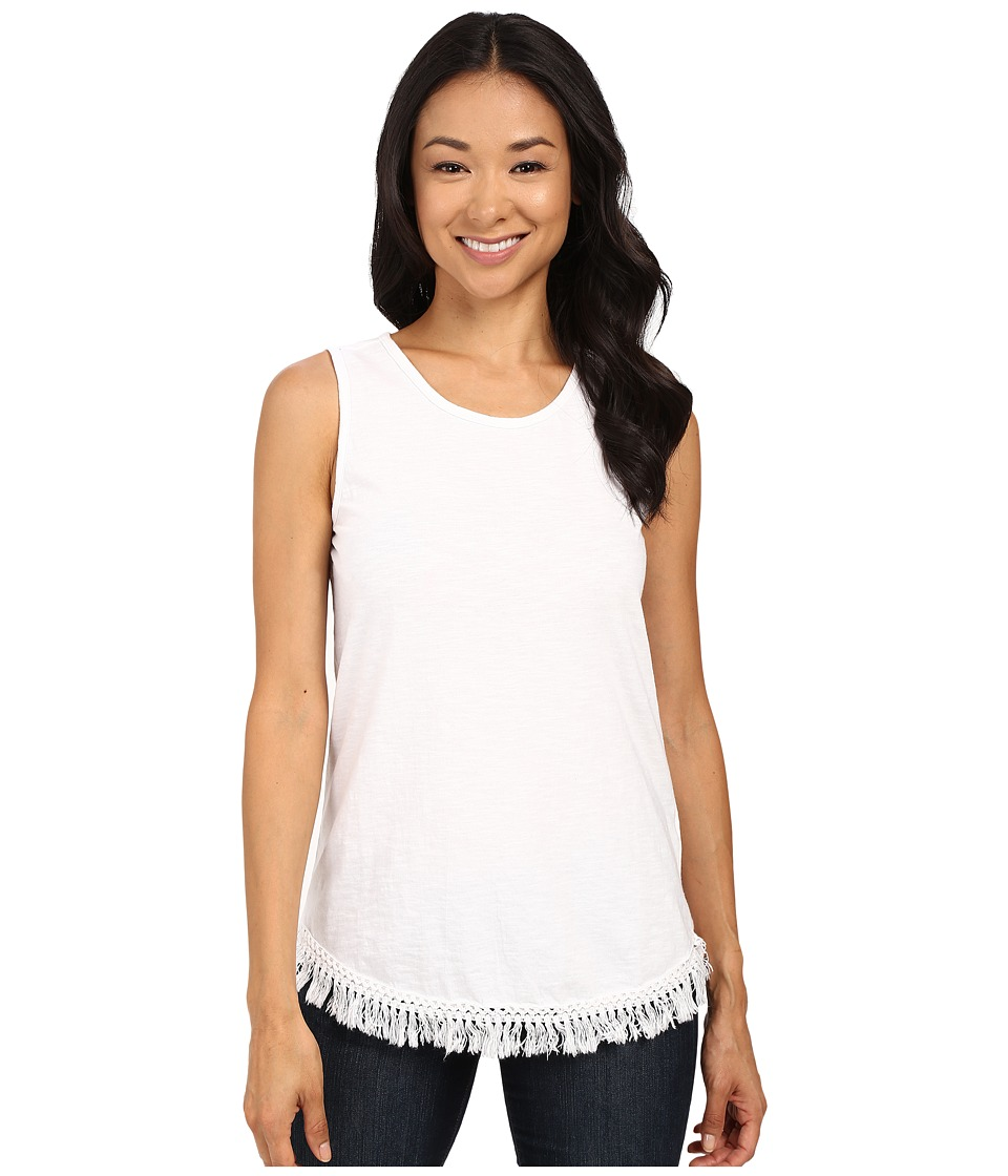 Dylan by True Grit - Sleeveless Cotton Tee w/ Fringe Hem (White) Women's Sleeveless