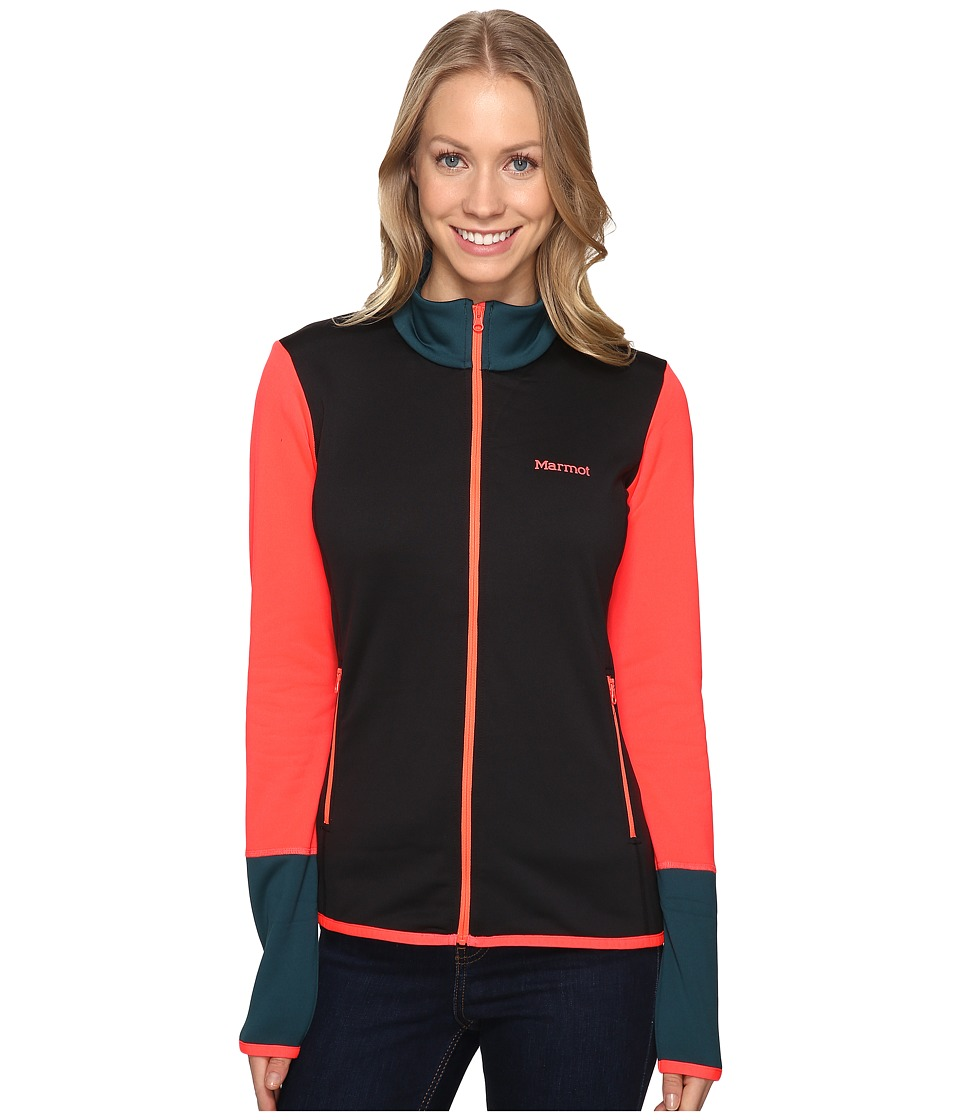Marmot - Thirona Jacket (Black/Neon Coral) Women's Coat