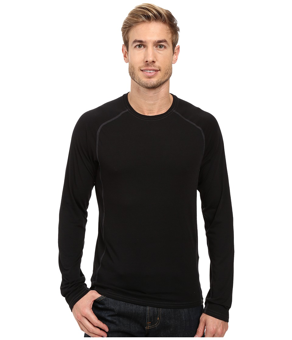 Royal Robbins Go Everywhere(r) Long Sleeve Merino Crew (Jet Black) Men