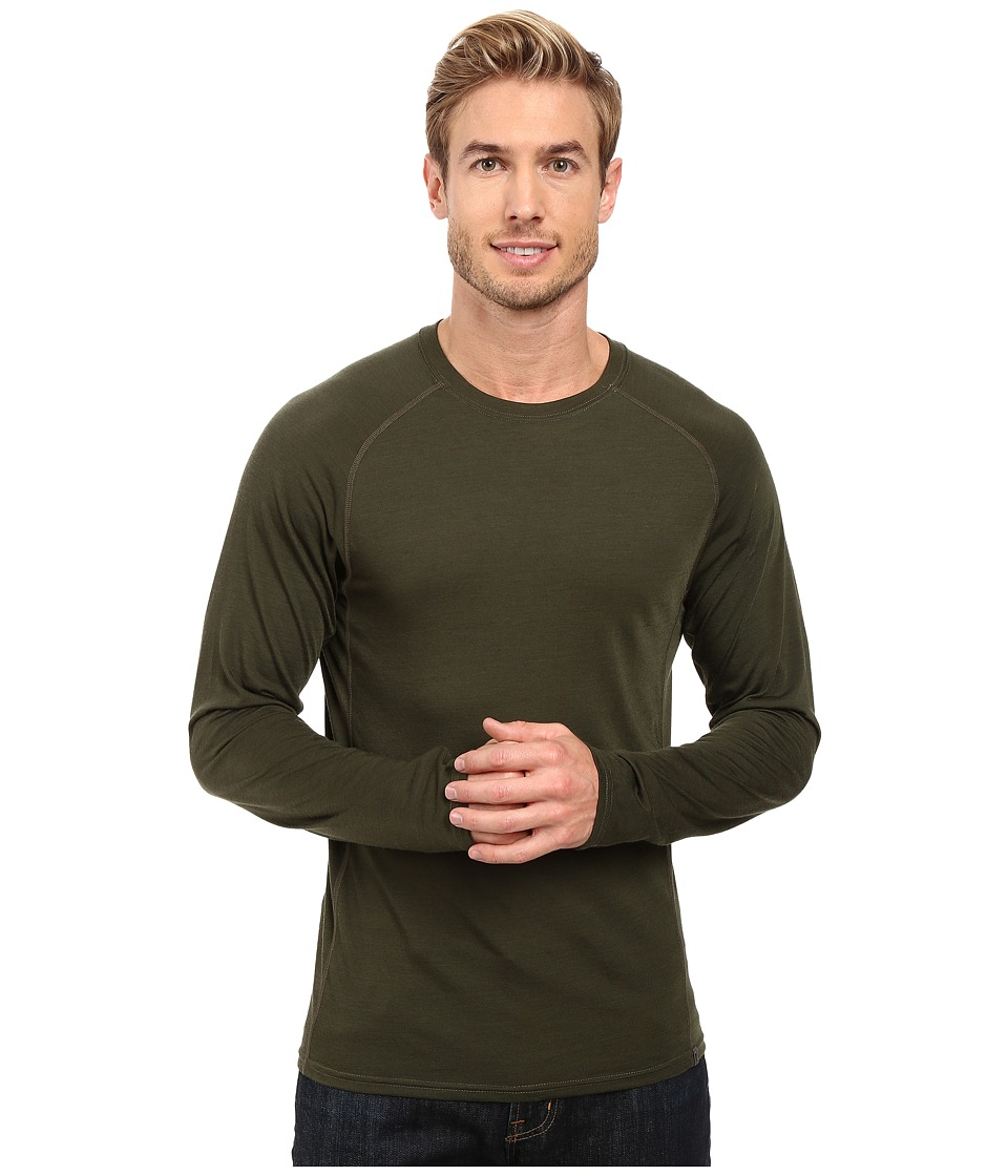 Royal Robbins Go Everywhere(r) Long Sleeve Merino Crew (Dark Olive) Men