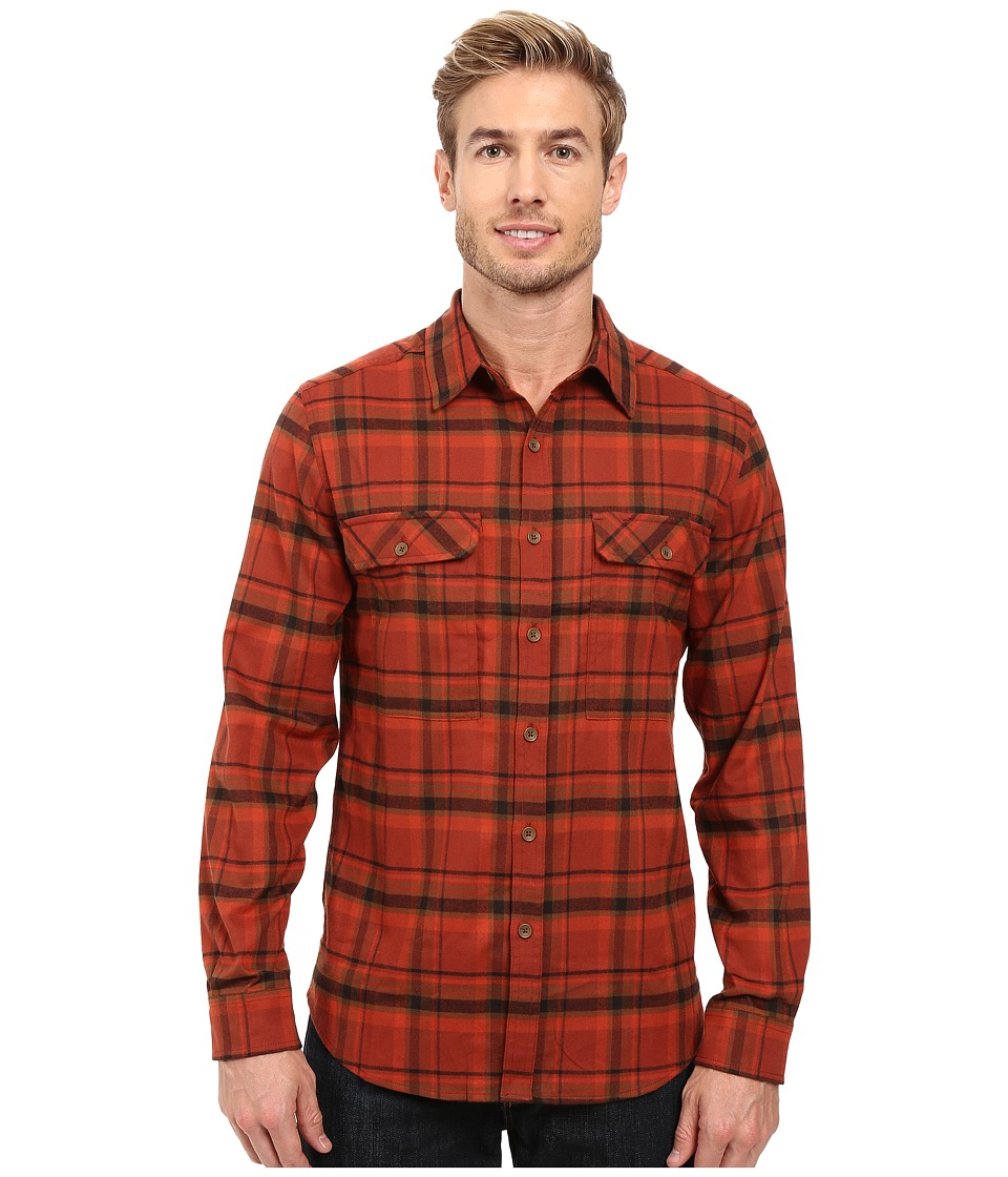 Royal Robbins - Valley Performance Long Sleeve Plaid Shirt (Cedar) Men's Long Sleeve Button Up