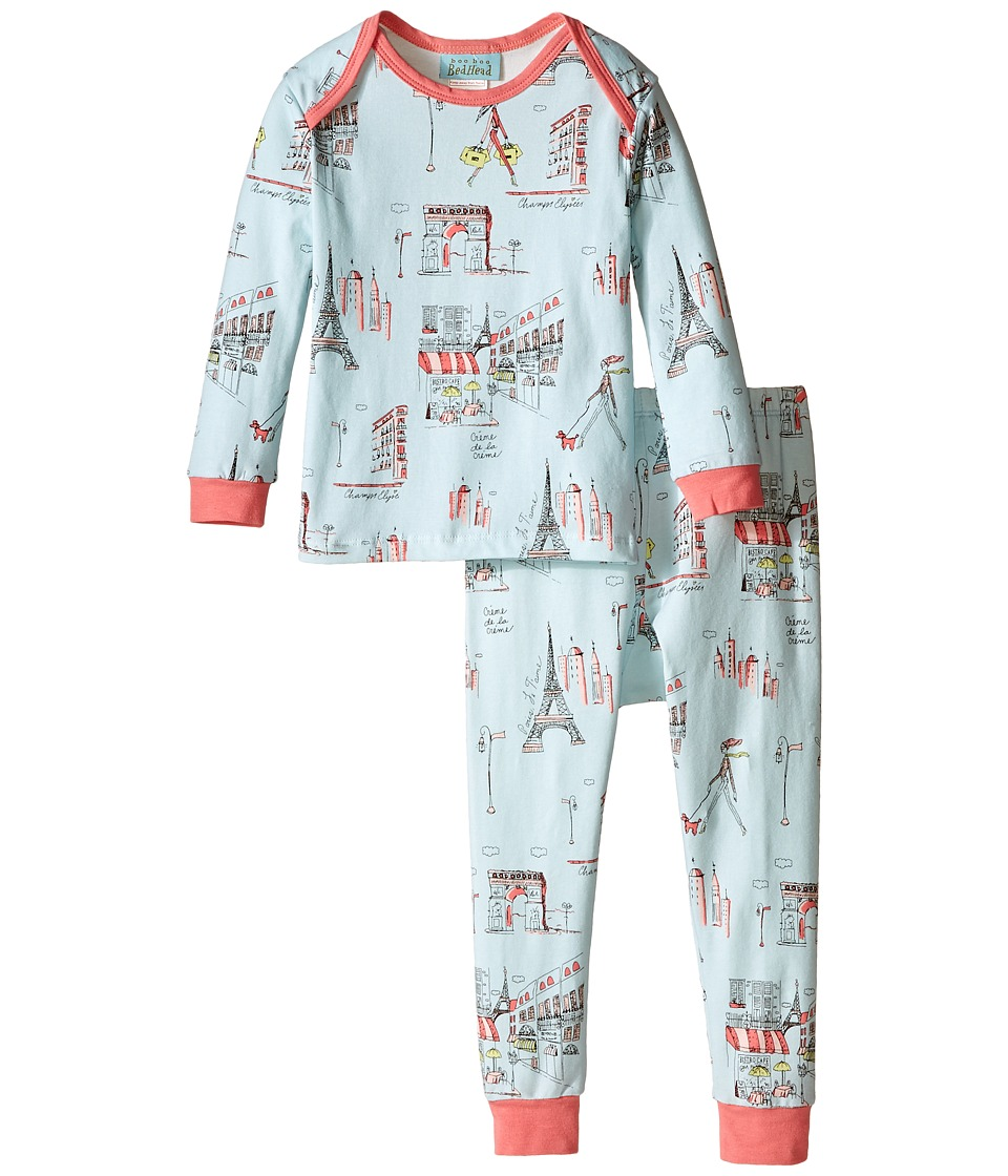 BedHead Kids - L/S Baby Tee Pant (Infant) (Blue Cafe Du Paris) Boy's Pajama Sets