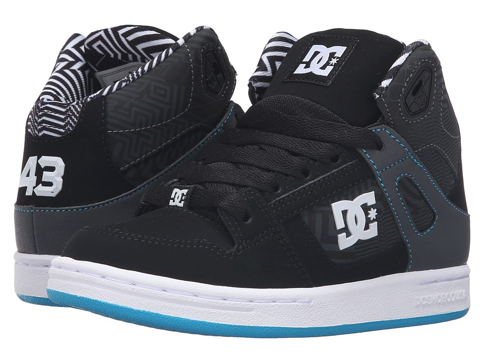 DC Kids - Rebound KB (Little Kid) (Black/White/Blue) Boys Shoes