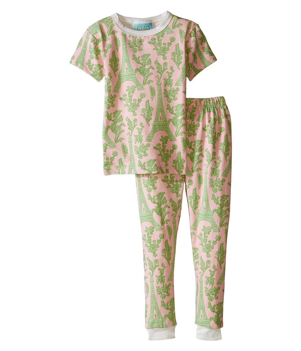 BedHead Kids - Short Sleeve Snug PJ (Toddler/Little Kids) (Pink/Green Eiffel) Girl's Pajama Sets