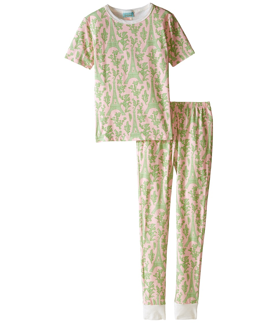 BedHead Kids - Short Sleeve Tween Snug PJ (Big Kids) (Pink/Green Eiffel) Girl's Pajama Sets