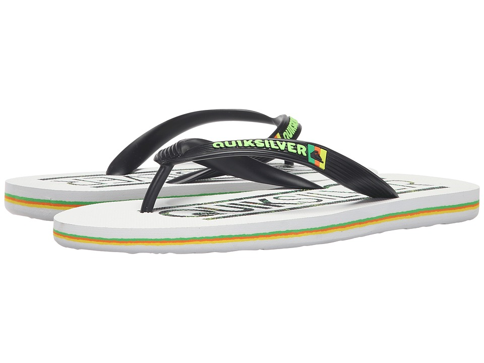Quiksilver - Molokai Wordmark (Black/White/Green) Men's Toe Open Shoes
