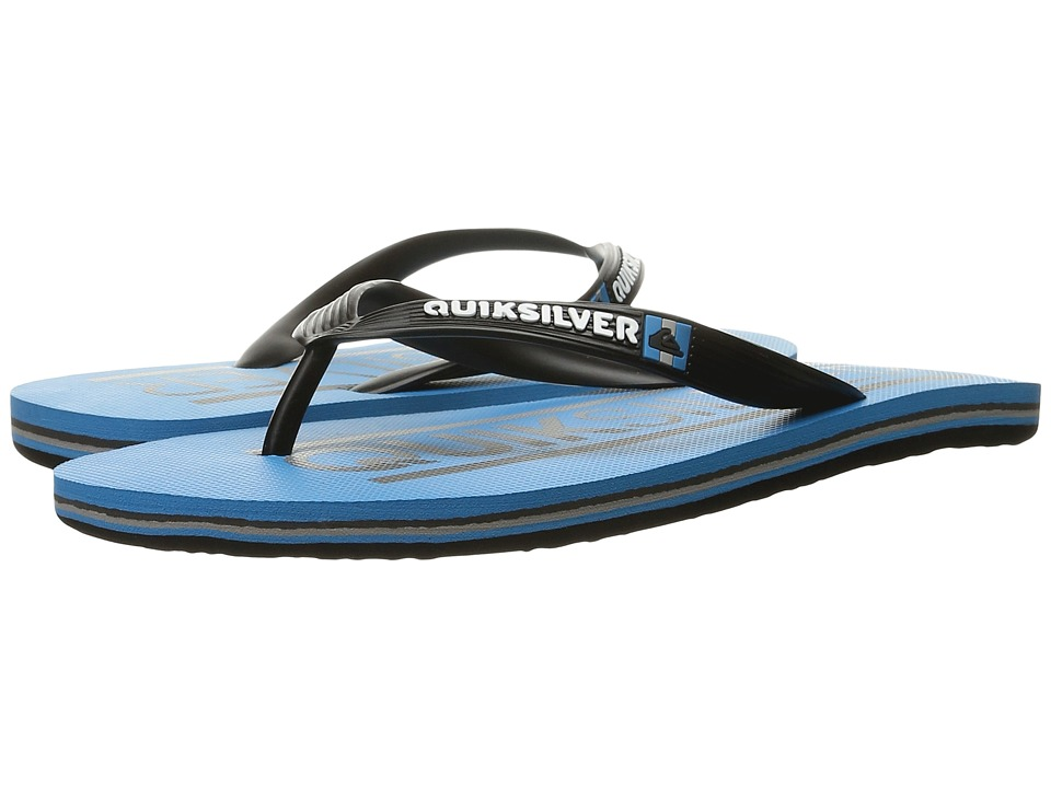 Quiksilver - Molokai Wordmark (Grey/Blue/Grey) Men's Toe Open Shoes