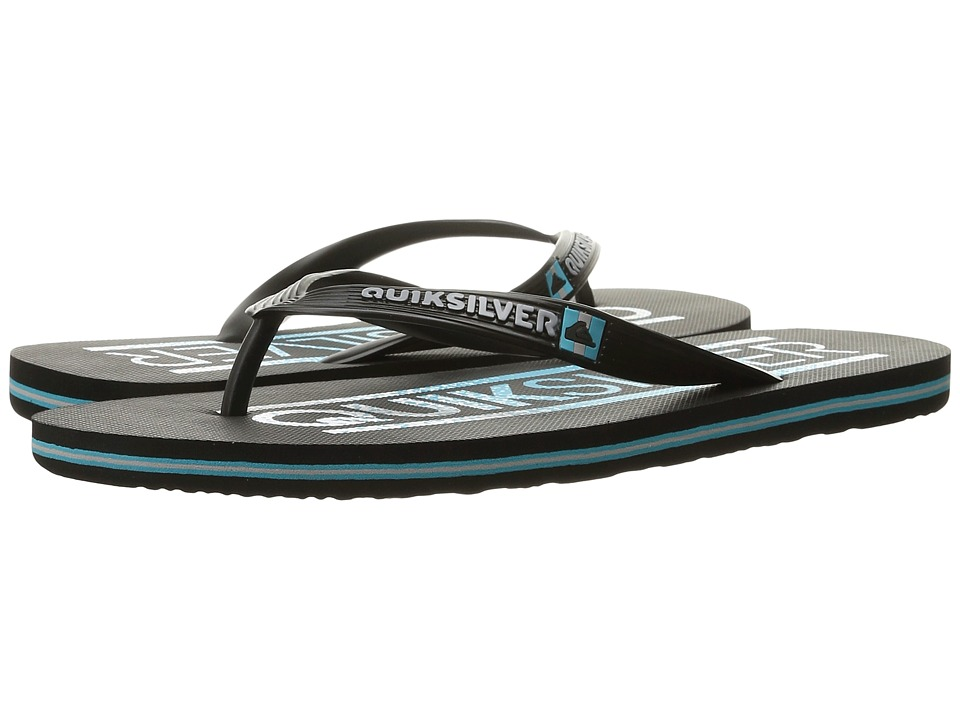 Quiksilver - Molokai Wordmark (Black/Blue/Black) Men's Toe Open Shoes