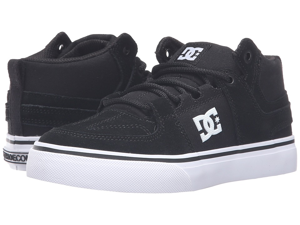 DC Kids - Lynx Vulc Mid (Little Kid) (Black/White) Boys Shoes