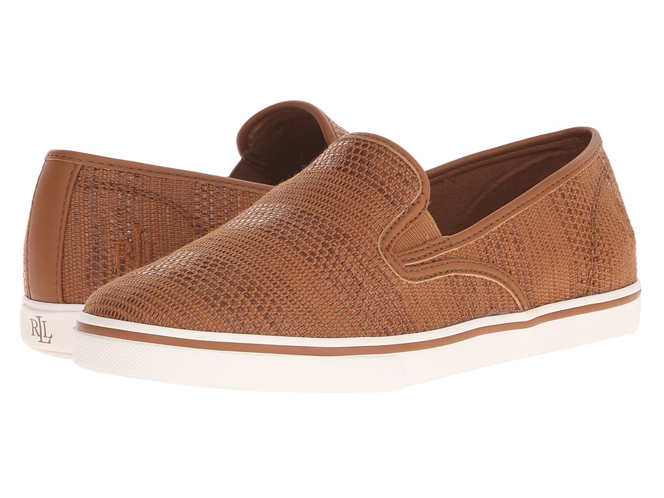 LAUREN Ralph Lauren - Janis (Tan Stripe Texture Faux Straw) Women's Slip on Shoes