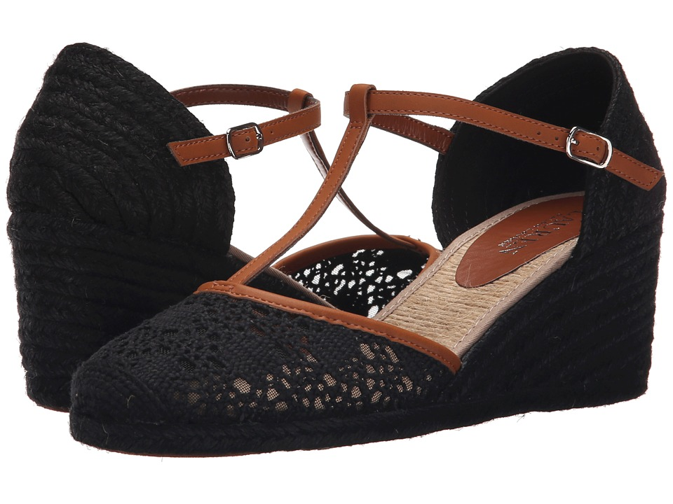 LAUREN Ralph Lauren - Carolina (Black/Polo Tan Cotton Crochet/Burnished Vachetta) Women's Wedge Shoes
