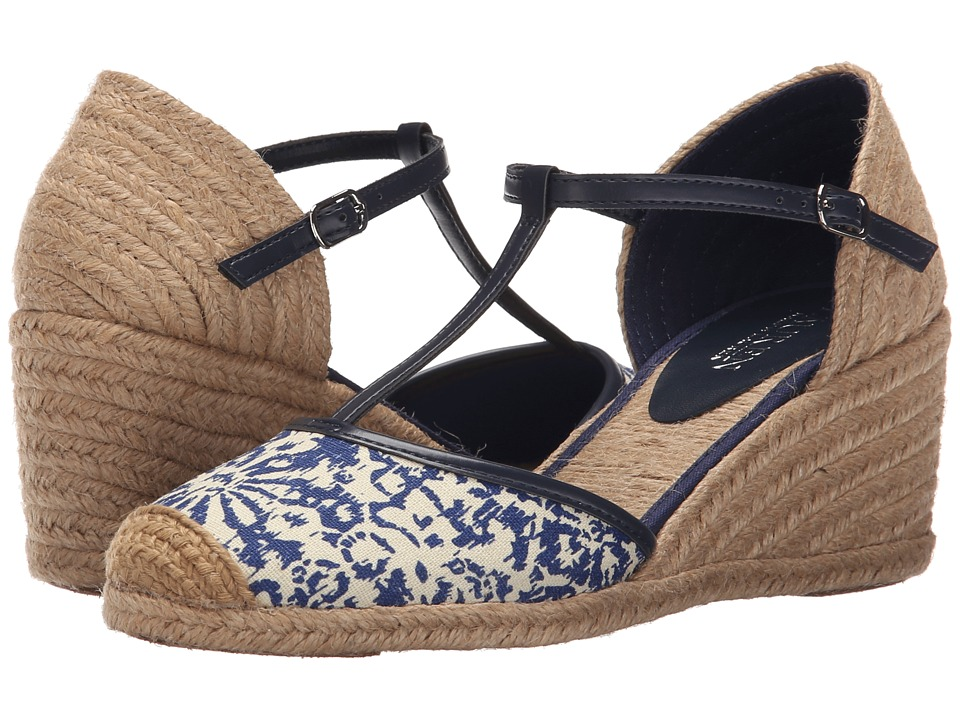 LAUREN Ralph Lauren Carolina Blue-Modern Navy Block Print Cotton-Burnished Vachetta Womens Wedge Shoes
