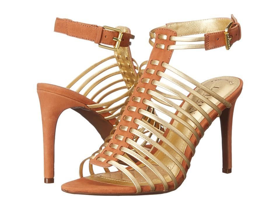 LAUREN Ralph Lauren - Skyla (Ralph Lauren Gold/Polo Tan Metallic Kid Skin/Elko Nubuck) High Heels