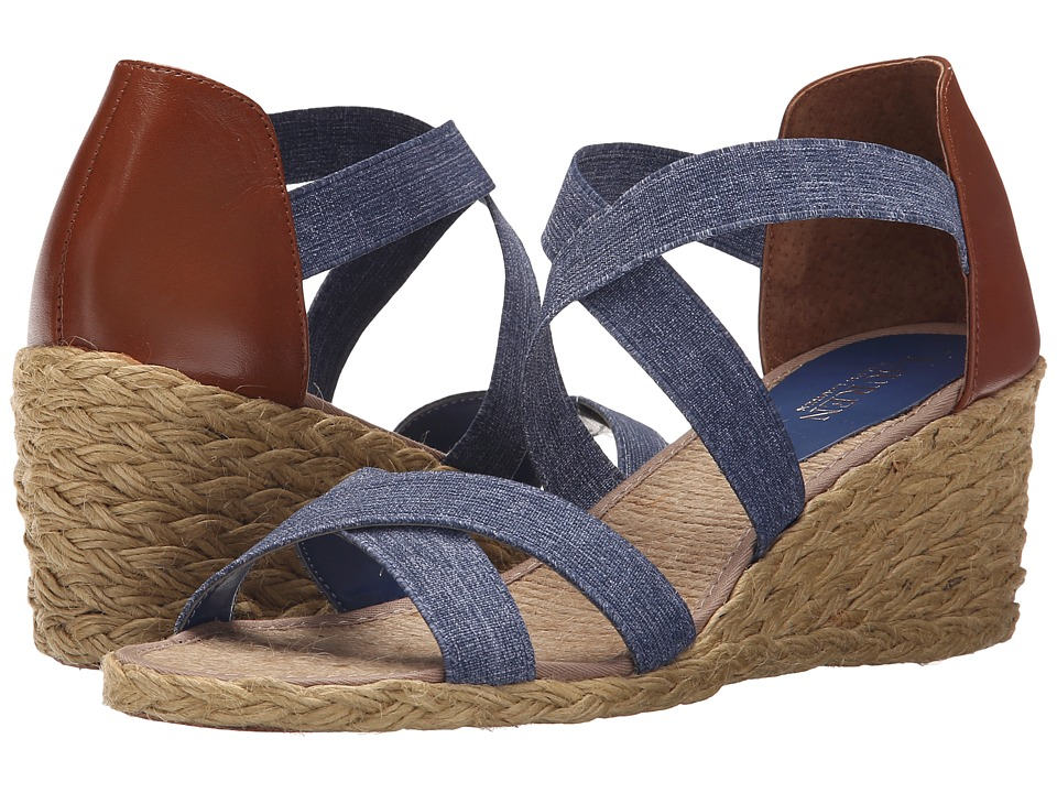 LAUREN Ralph Lauren - Cortney (Blue/Polo Tan Denim Elastic/Burnished Vachetta) Women's Wedge Shoes