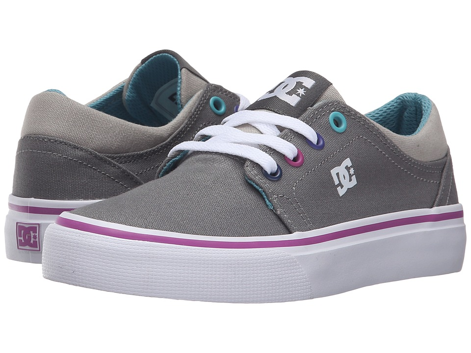DC Kids Trase TX (Little Kid) (Grey/Grey/Blue) Girls Shoes