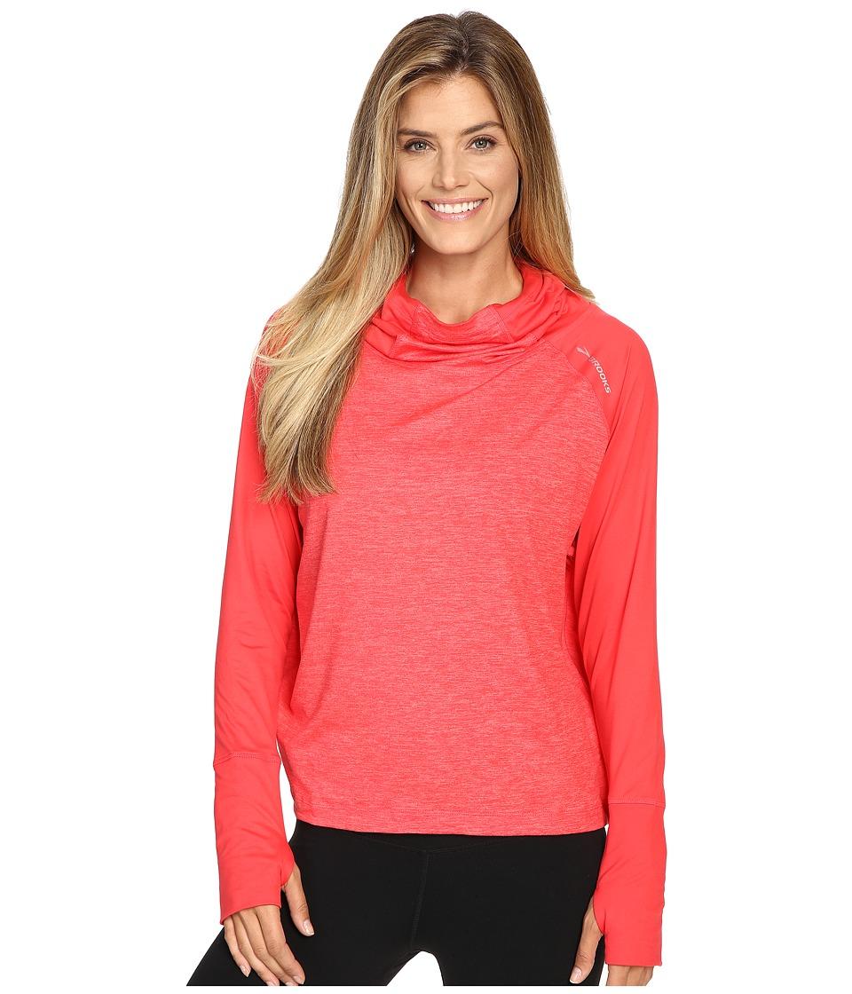Brooks - Dash Hoodie (Poppy/Heather Poppy) Women's Sweatshirt