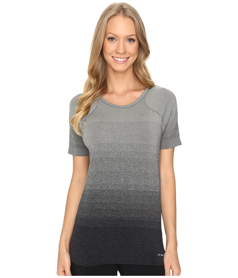 Brooks - Streaker Short Sleeve Top (Oxford/Black) Women's Short Sleeve Pullover
