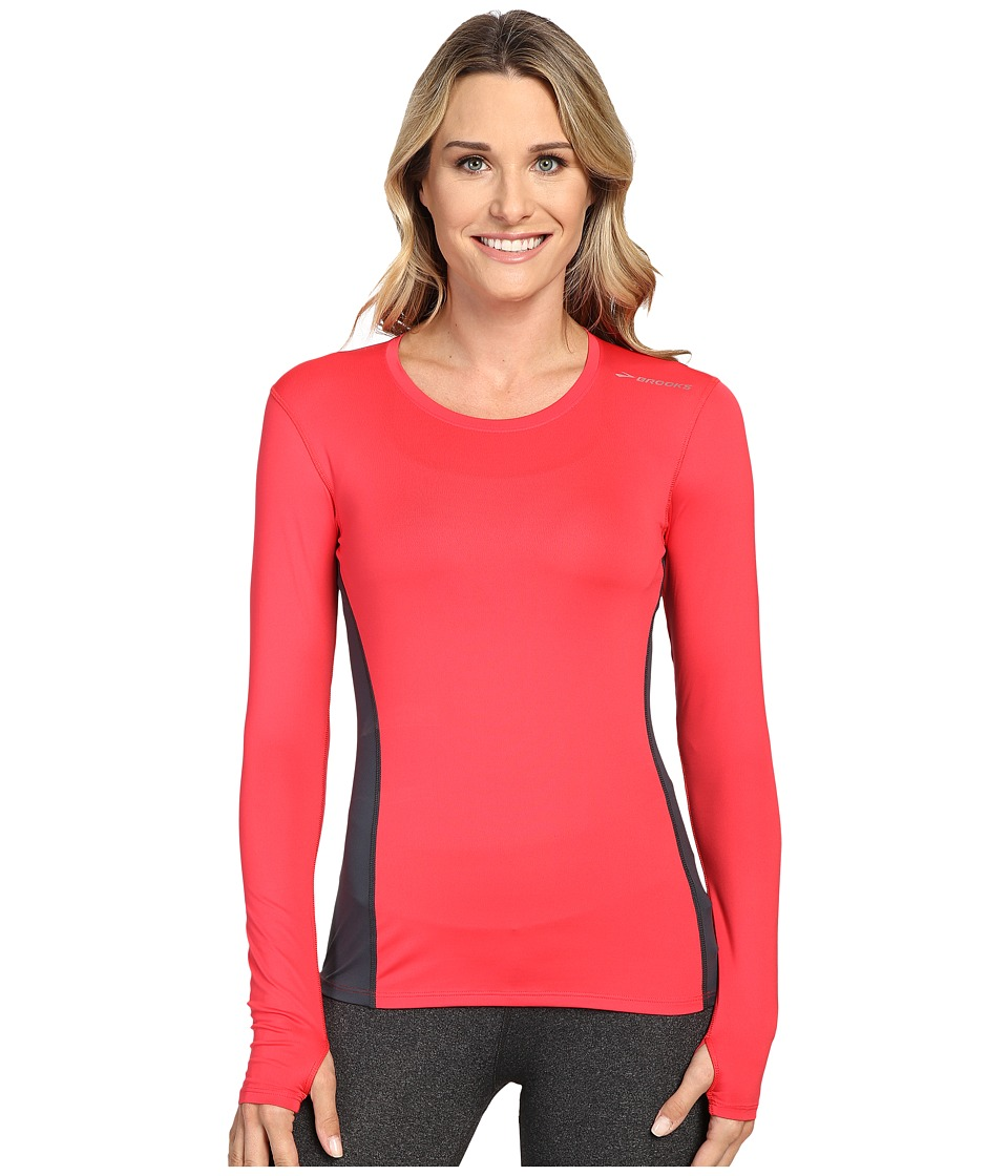 Brooks - Steady Long Sleeve Top (Poppy/Asphalt) Women's Long Sleeve Pullover