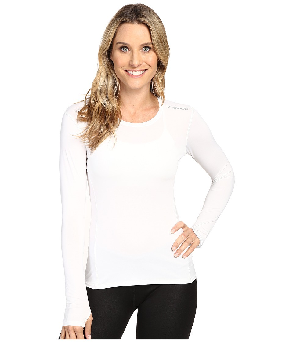 Brooks - Steady Long Sleeve Top (White) Women's Long Sleeve Pullover
