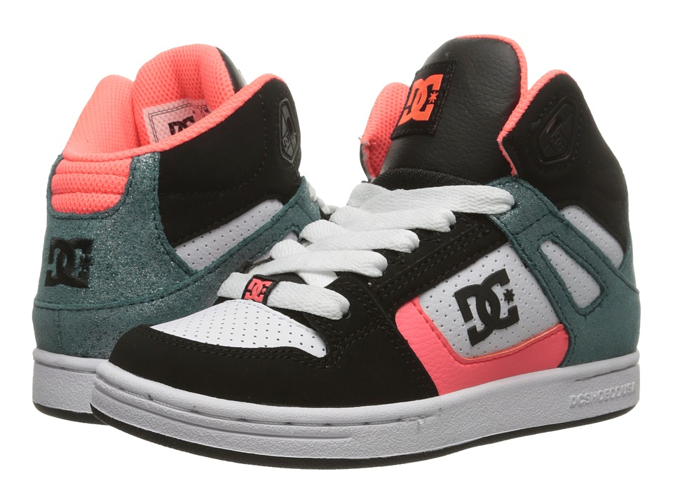 DC Kids - Rebound SE (Little Kid) (Black/Multi/White) Girls Shoes