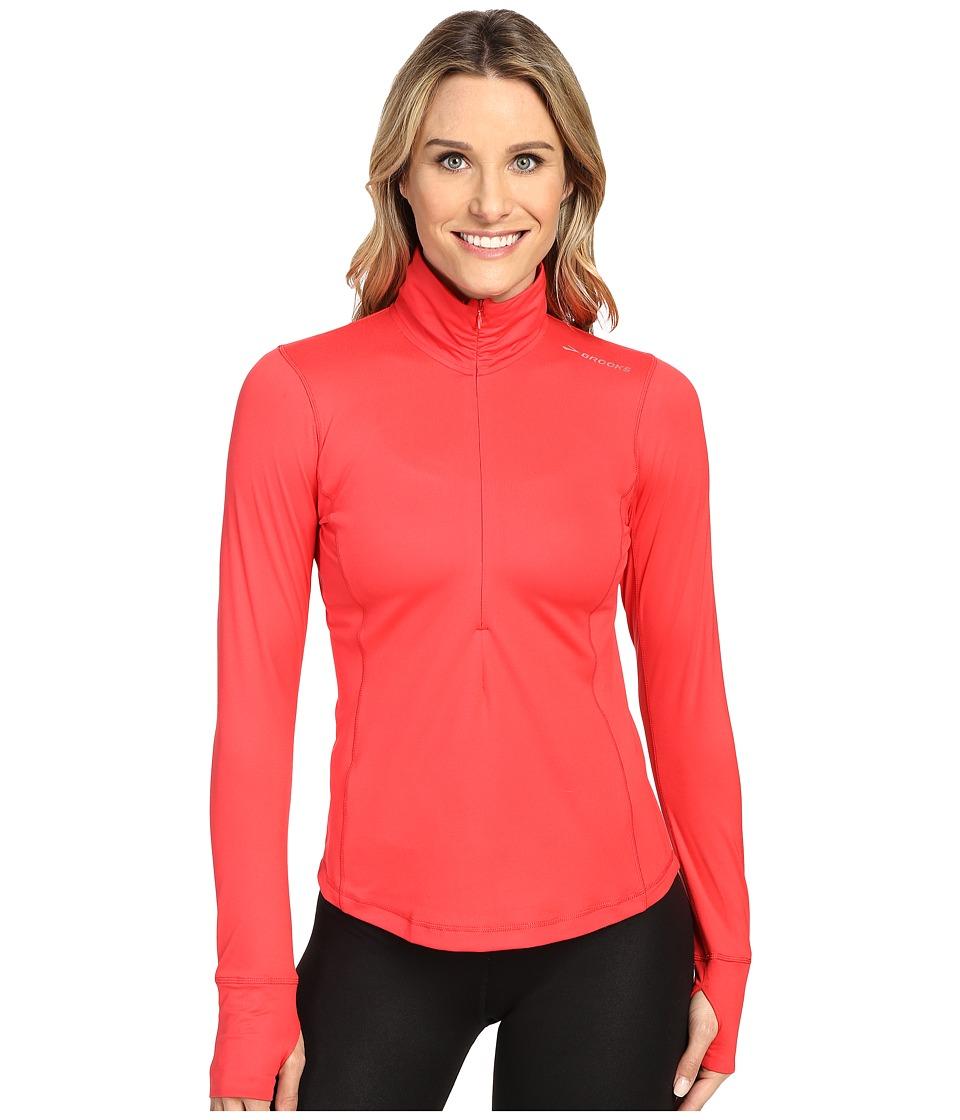 Brooks - Dash 1/2 Zip (Poppy) Women's Long Sleeve Pullover