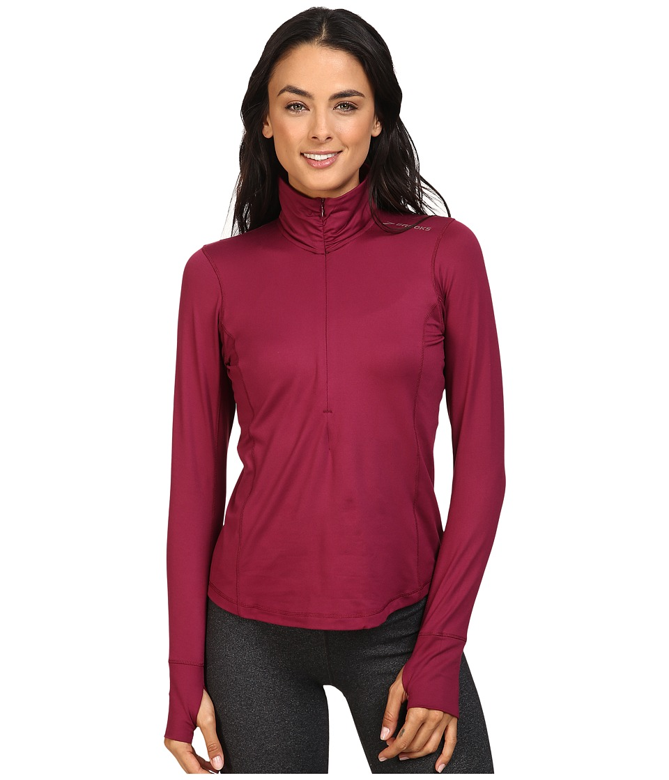 Brooks - Dash 1/2 Zip (Sangria) Women's Long Sleeve Pullover
