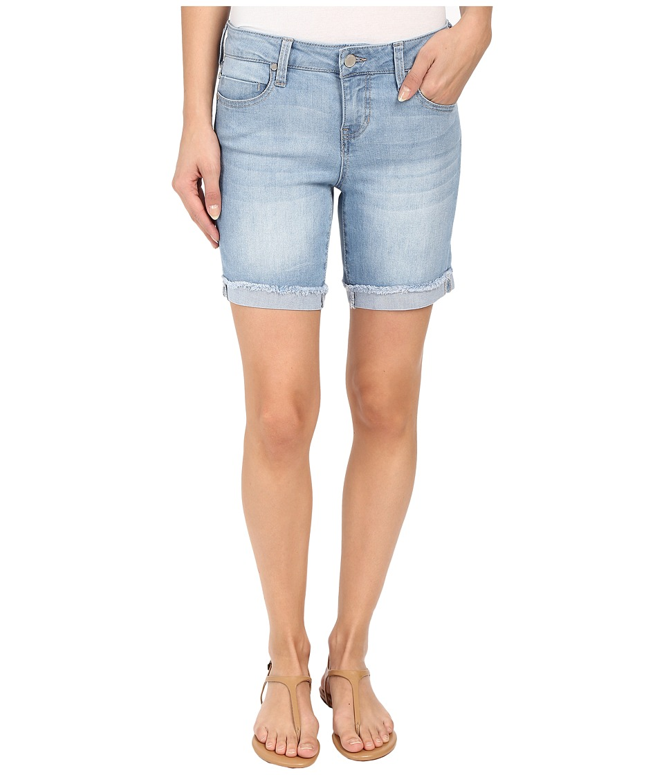 Liverpool - Corine Rolled Denim Shorts with Fringe Hem in Belmont Beach Blue (Belmont Beach Blue) Women's Shorts