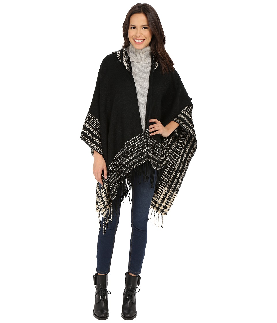Christin Michaels - Emilia Fringed Poncho (Black/Cream) Women's Clothing