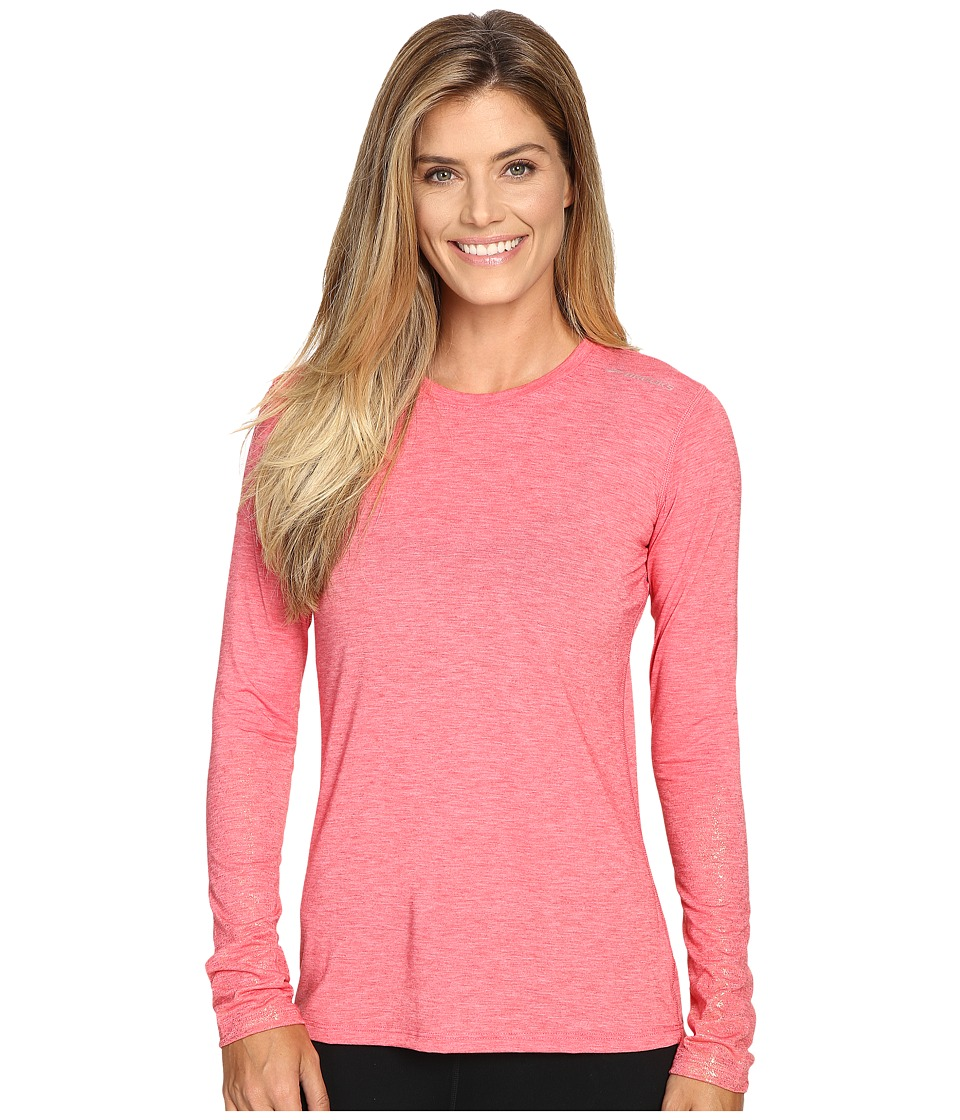 Brooks - Distance Long Sleeve Top (Heather Poppy/Sol Shine) Women's Long Sleeve Pullover