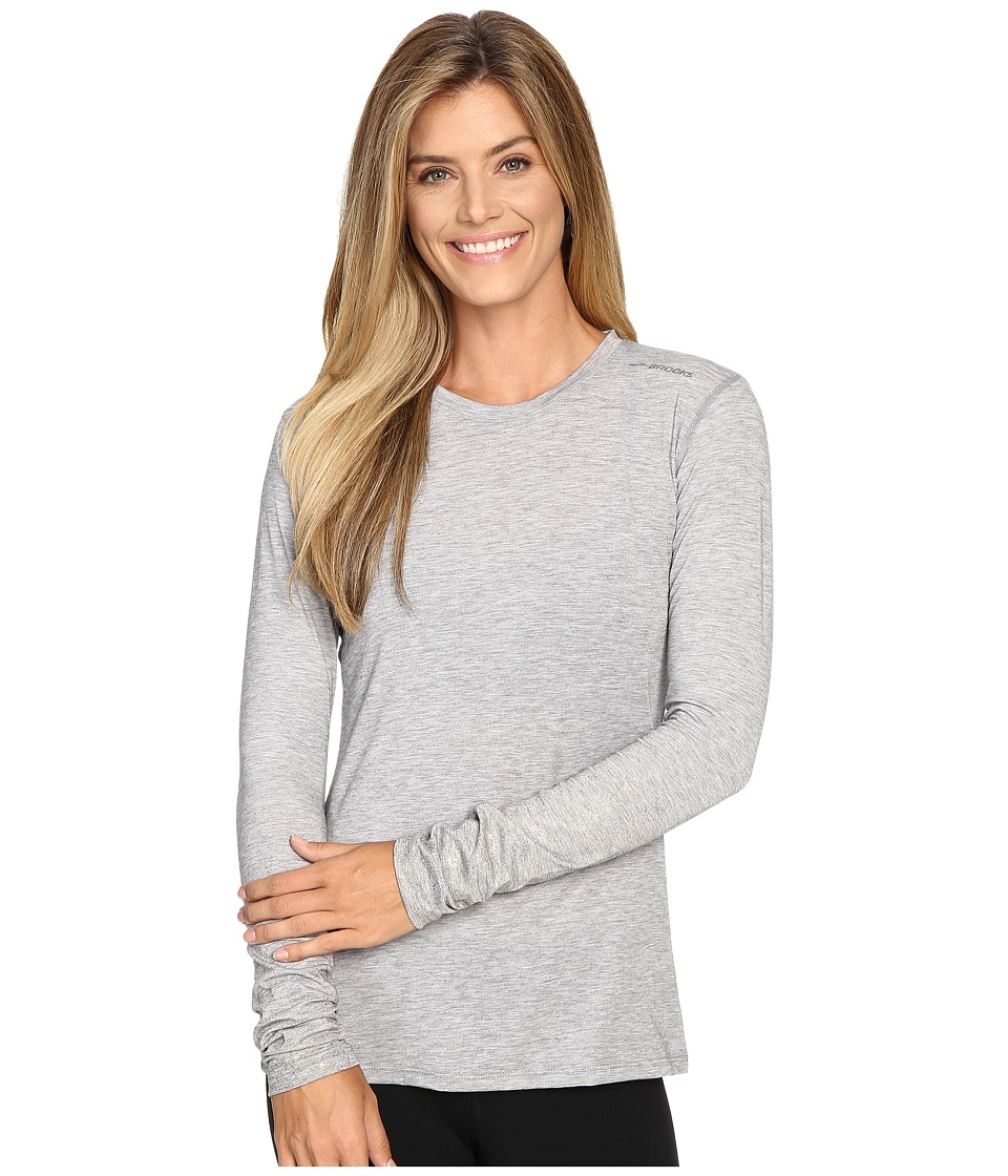 Brooks - Distance Long Sleeve Top (Heather Oxford/Sol Shine) Women's Long Sleeve Pullover