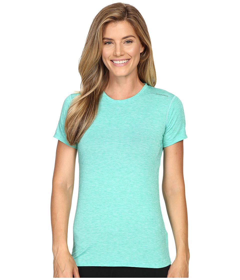 Brooks - Distance Short Sleeve Top (Heather Parque) Women's Short Sleeve Pullover