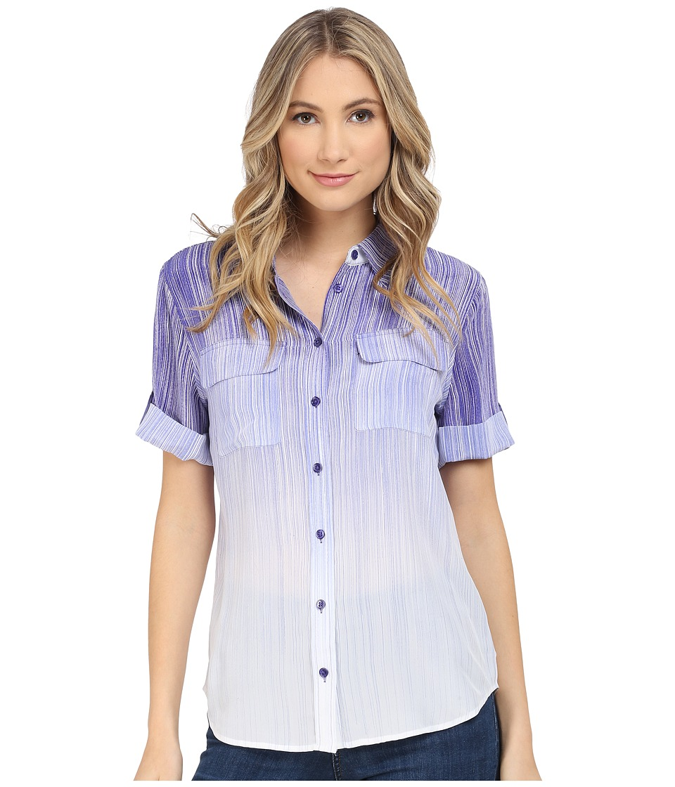 EQUIPMENT - Short Sleeve Slim Signature (Biro Blue Multi) Women's Short Sleeve Button Up