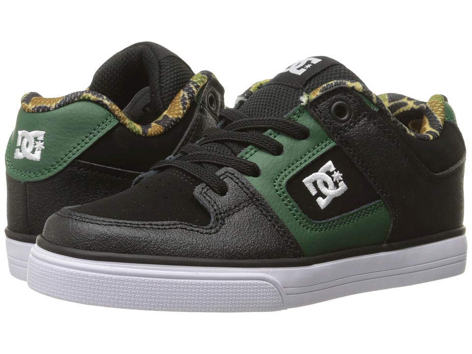 DC Kids - Pure Elastic SE (Little Kid) (Black/Green) Boys Shoes